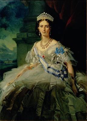Tiara Photograph - Portrait Of Princess Tatiana Alexanrovna Yusupova, 1858 Oil On Canvas by Franz Xaver Winterhalter