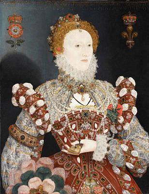 Portrait Of Queen Elizabeth I Print by Nicholas Hilliard