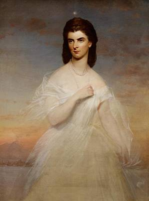 Gown Painting - Portrait Of Queen Maria Sophia Of Naples by Franz Xaver Winterhalter