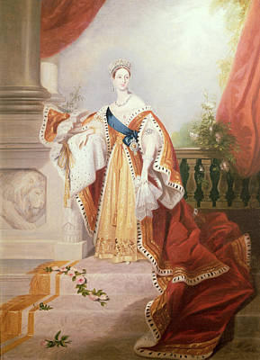 Portrait Of Queen Victoria Print by Alfred-Edward Chalon