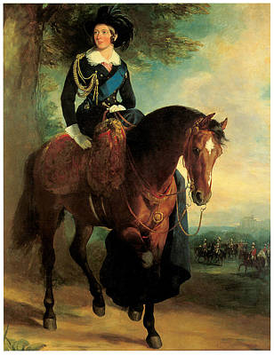 Women On Horses Painting - Portrait Of Queen Victoria On Horseback by Francis Grant
