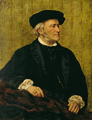 Portrait Of Richard Wagner Print by Giuseppe Tivoli