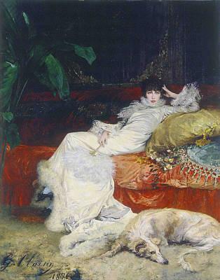 Portrait Of Sarah Bernhardt Print by Georges Clairin