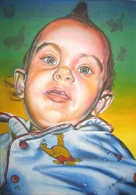 Lino Painting - Portrait Of Seth 2 by Bongumusa  Hlongwa