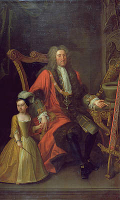 Portrait Of Sir Charles Peers, Lord Mayor In 1715, And His Granddaughter, C.1715 Oil On Canvas Print by English School