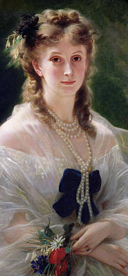 Necklace Painting - Portrait Of Sophie Troubetskoy  by Franz Xaver Winterhalter