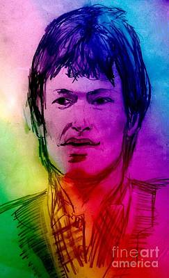 Rainbow Portrait Of Stevie Winwood Print by Joan-Violet Stretch