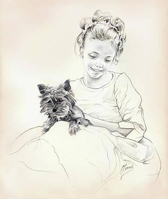 Topknot Drawing - Portrait Of Sylwia by Anna Ewa Miarczynska