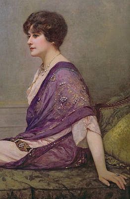 Portrait Of Th Ecourturier Madame Paquin Print by Henri Gervex
