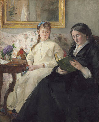 Portrait Of The Artist S Mother And Sister Print by Berthe Morisot