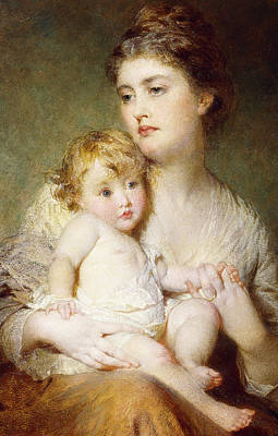 St. George Painting - Portrait Of The Duchess Of St Albans With Her Son by George Elgar Hicks