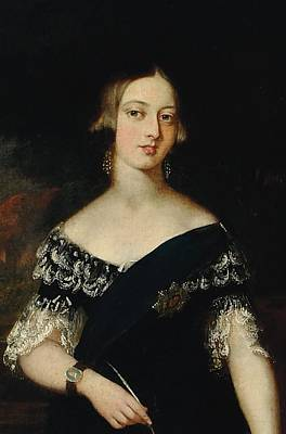 The Royal Family Painting - Portrait Of The Young Queen Victoria by English School