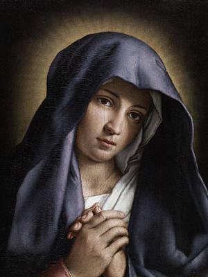 Portrait Of The Young Virgin Mary Print by Giovanni Battista Salvi da Sassoferrato