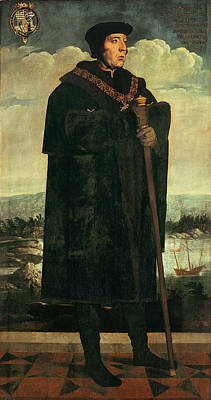 Coat Of Arms Painting - Portrait Of William Fitzwilliam, Earl by Hans Holbein the Younger