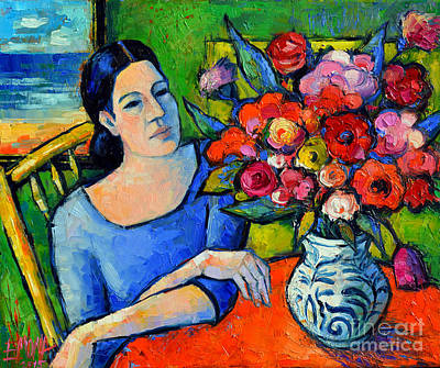 Portrait Of Woman With Flowers Print by Mona Edulesco