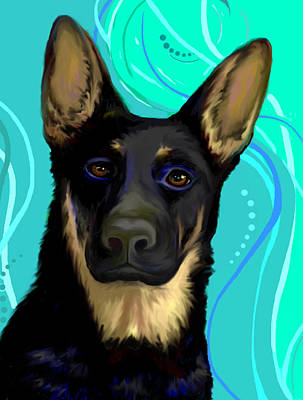 Puppies Digital Art - Portrait Of A German Shepherd Dog by Karon Melillo DeVega