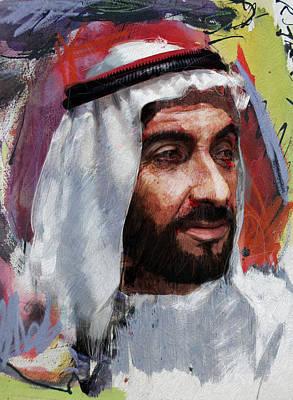 Sultan Painting - Portrait Of Zayed Bin Sultan Al Nahyan by Maryam Mughal