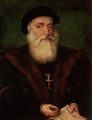 Portrait Presumed To Be Of Vasco Da Gama Print by Portuguese School