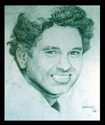 Cricket Drawing - Portrait- Sachin Tendulkar by Sanika Dhanorkar nee Meenal Pradhan