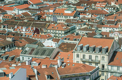 Rooftop Photograph - Portugal, Lisbon, Baixa Rooftops by Rob Tilley