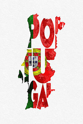 Portuguese Mixed Media - Portugal Typographic Map Flag by Ayse Deniz