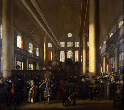 Elaborate Painting - Portuguese Synagogue In Amsterdam by Emanuel de Witte