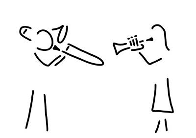 Trombone Drawing - Posaunist Trumpet Player Brass Player by Lineamentum