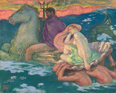 Amphitrite Painting - Poseidon And Amphitrite by Rupert Bunny