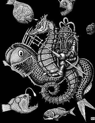 Concept Art Inks Drawing - Poseidon by Vitaliy Gonikman