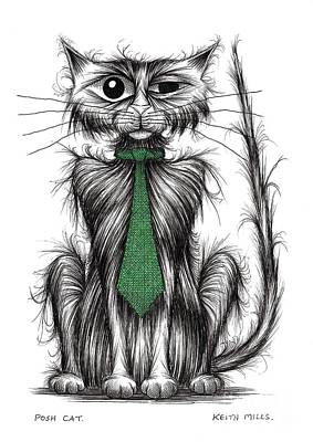 Moggy Drawing - Posh Cat by Keith Mills