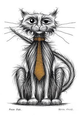 Black Tie Drawing - Posh Puss by Keith Mills