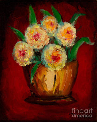Mums Painting - Posies In The Copper Pot by Larry Martin