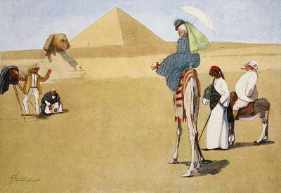 Guides Drawing - Posing At The Pyramids, From The Light by Lance Thackeray