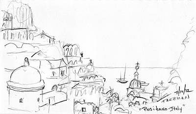 Abstract Seascape Drawing - Positano Italy by Valerie Freeman