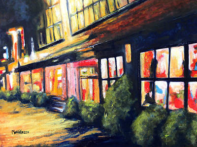 Store Fronts Painting - Post Alley Seattle by Marti Green