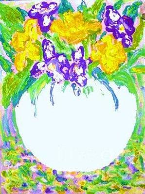 Still Life With Daffodils Painting - Post Impressionist Daffodils And Irises by C Fanous