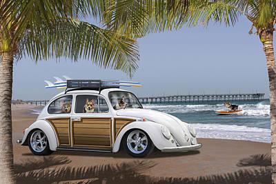 Postcards From Otis - Beach Corgis Print by Mike McGlothlen