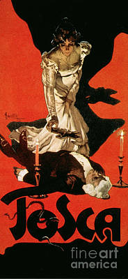 Billboards Painting - Poster Advertising A Performance Of Tosca by Adolfo Hohenstein