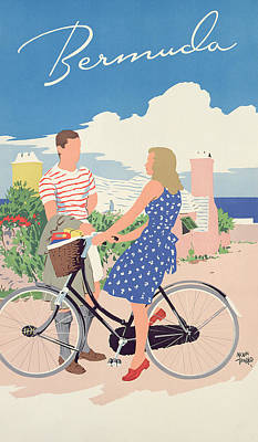 Bikes Drawing - Poster Advertising Bermuda by Adolph Treidler