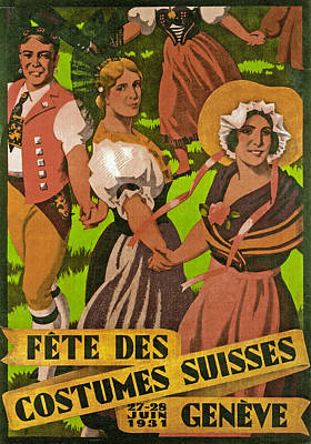 Poster Advertising F?te Des Costumes Print by Jules Courvoisier