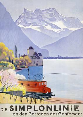 Mountain Drawing - Poster Advertising Rail Travel Around Lake Geneva by Emil Cardinaux