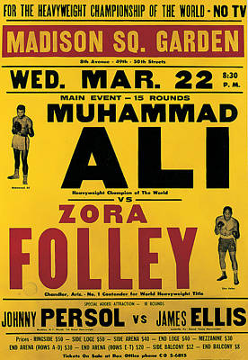 Boxer Drawing - Poster Advertising The Fight Between Muhammad Ali And Zora Folley In Madison Square Garden by American School