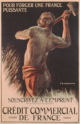 Hammer Drawing - Poster Advertising The French National Loan by B Chavannaz