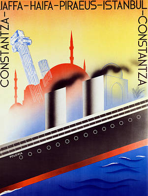 Poster Advertising The Polish Palestine Line Print by Zygmunt Glinicki