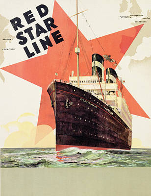 Advertise Painting - Poster Advertising The Red Star Line by Belgian School