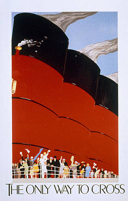 Poster Advertising The Rms Queen Mary Print by English School