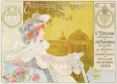 Antique Automobiles Drawing - Poster Advertising The Sixth Exhibition Of The Automobile Club De France by J Barreau
