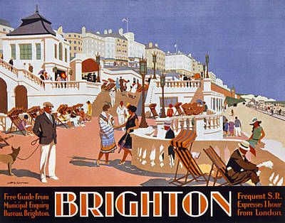 Coastal Drawing - Poster Advertising Travel To Brighton by Henry George Gawthorn