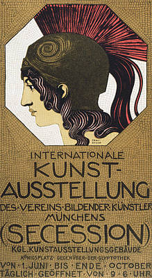Mosaics Drawing - Poster For An Exhibition by Franz von Stuck