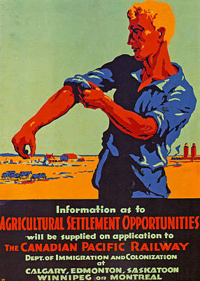 Agriculture Drawing - Poster Promoting Emigration To Canada by Canadian School